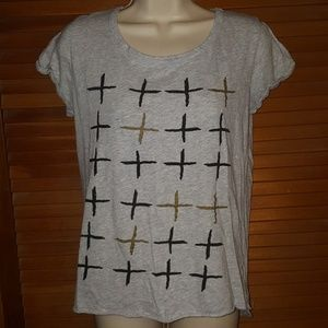 ⛾5 for $15⛾Cotton On Crosses Shirt Blk Gold & Gray